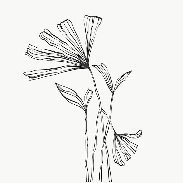 Folhas e folhagem de linha tropical isoladas no fundo branco. desenho de ilustrações vetoriais.