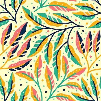 Folhas e folhagens coloridas sem costura padrão