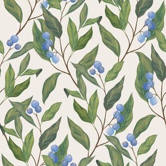 Folhas e padrão sem emenda de berryes azuis.