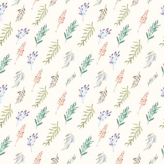 Folhas e ramos aquarela sem costura padrão