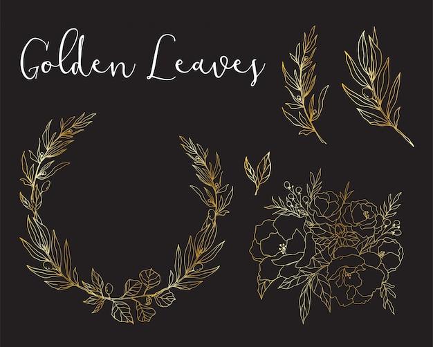 Folhas e ramos de ouro