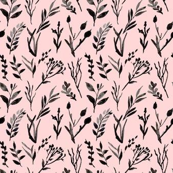 Folhas e ramos monocromáticos aquarela padrão sem emenda
