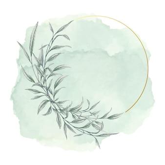 Folhas elegantes com moldura dourada