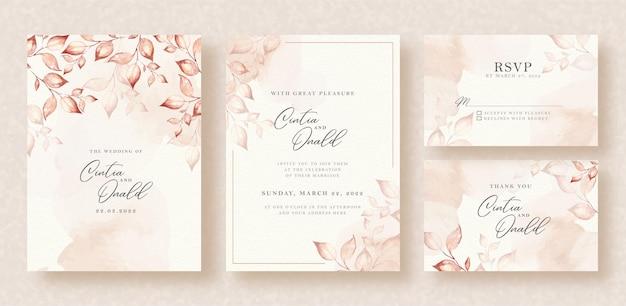 Folhas elegantes em aquarela sobre fundo de convite de casamento