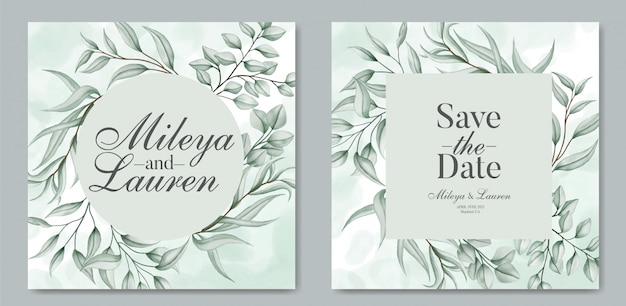 Folhas elegantes para o modelo de cartão de convite de casamento