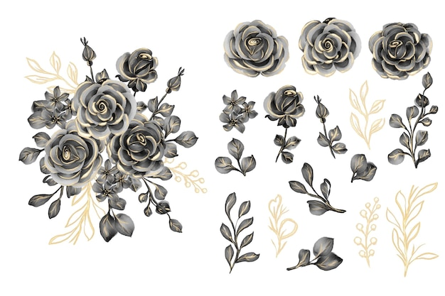Folhas em aquarela com clip-art isolado em ouro rosa preto