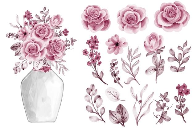 Folhas em aquarela com clip-art isolado em ouro rosa rosa