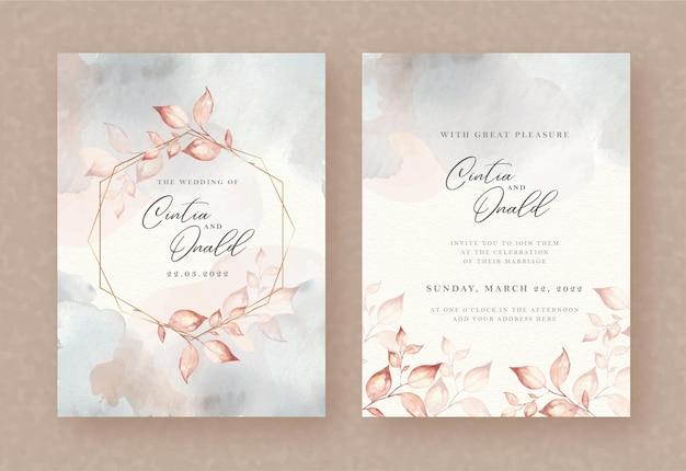 Folhas em aquarela de grinalda em fundo de convite de casamento