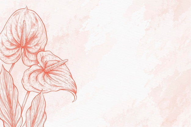 Folhas em pó fundo pastel mão desenhada