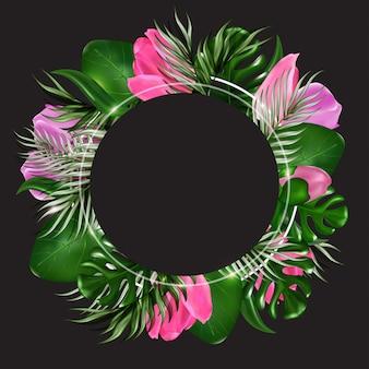 Folhas exóticas de banner tropical e flores no preto
