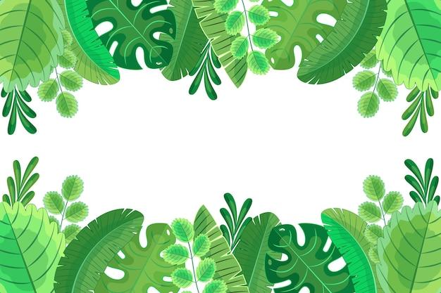 Folhas exóticas de design plano