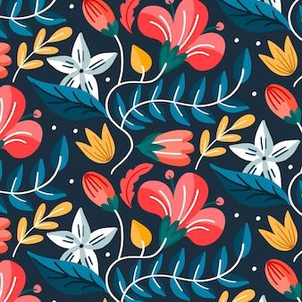 Folhas exóticas pintadas e padrão de flores