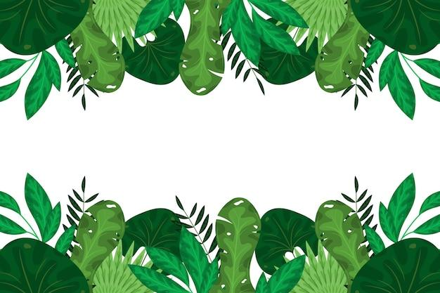 Folhas exóticas verdes de design plano