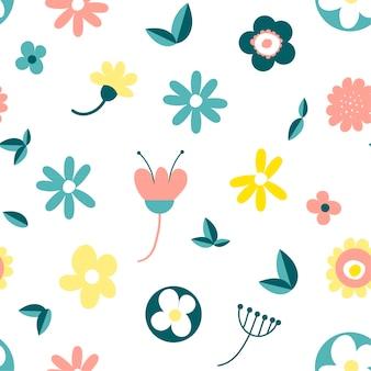 Folhas florais de padrões sem emenda