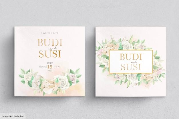 Folhas florais em convite de casamento