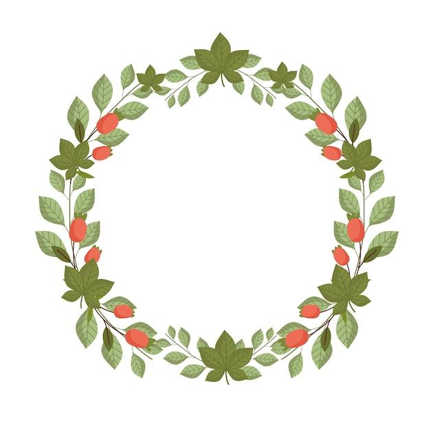 Folhas, flores, folhagem botânica, natureza, ilustração em forma de círculo