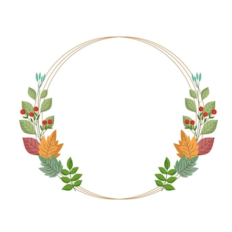 Folhas, folhagem, natureza, ramos, frutos, ilustração, moldura, redonda