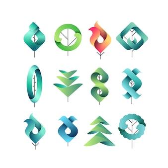 Folhas geométricas de gadient de cores, árvores, conjunto de símbolos isolados, logotipos, eco de vetor e elementos botânicos.