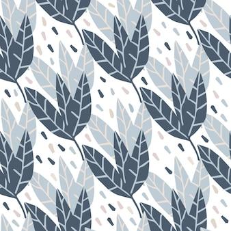 Folhas geométricas padrão sem emenda em branco