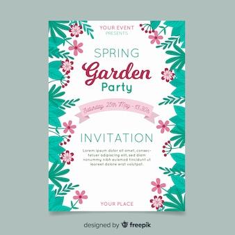 Folhas no cartaz de festa de primavera do lado