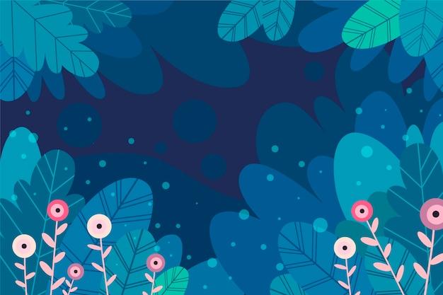 Folhas no meio da noite com fundo de flores