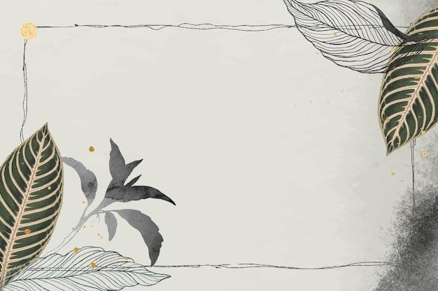 Folhas orientais e moldura detalhada de ouro em vetor bege