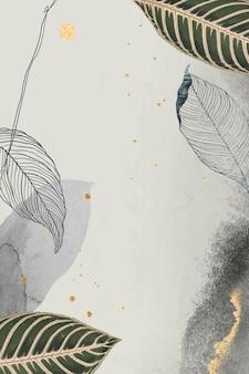Folhas orientais e moldura detalhada dourada em bege