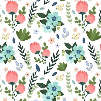 Folhas pintadas e padrão de flores exóticas