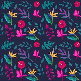 Folhas pintadas e padrão de flores tropicais
