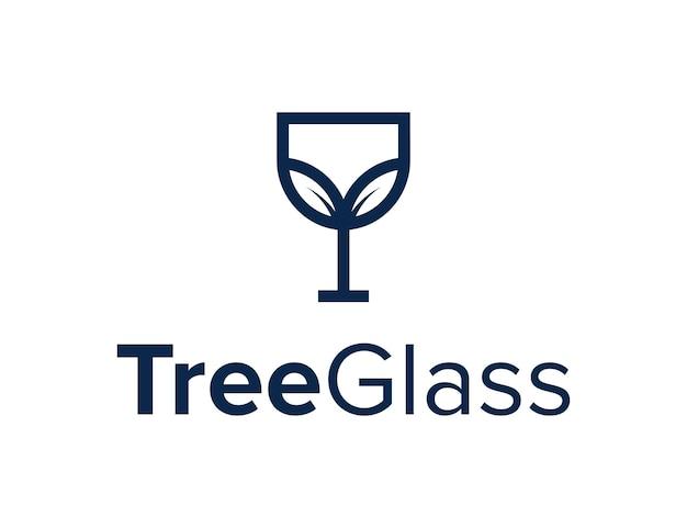 Folhas planta árvore com óculos delinear design de logotipo geométrico moderno e elegante