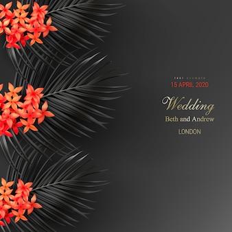 Folhas pretas tropicais e exótica flor vermelha no cartaz de vetor de fundo escuro