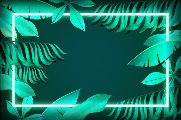 Folhas realistas com conceito de quadro de néon