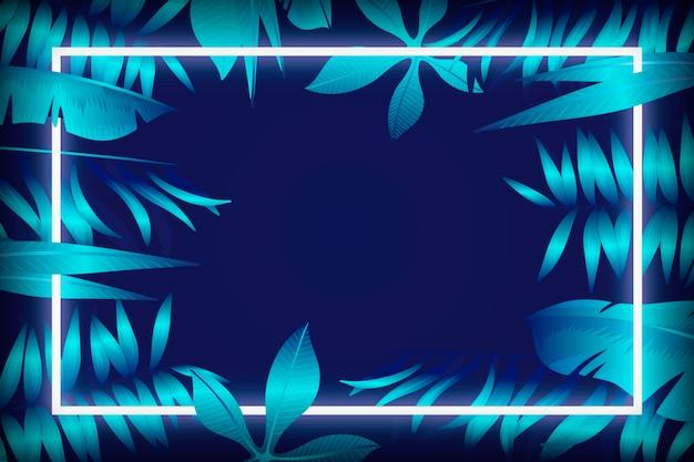 Folhas realistas com design de moldura de néon