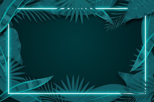 Folhas realistas com design de plano de fundo de quadro de néon