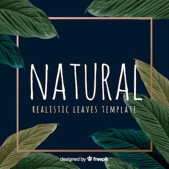 Folhas realistas com fundo de moldura dourada