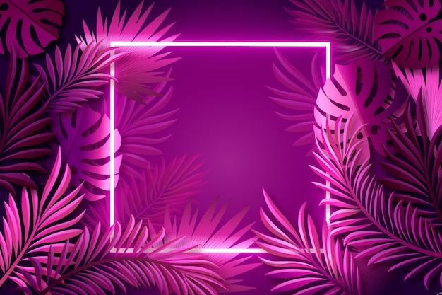 Folhas realistas com fundo de quadro de néon