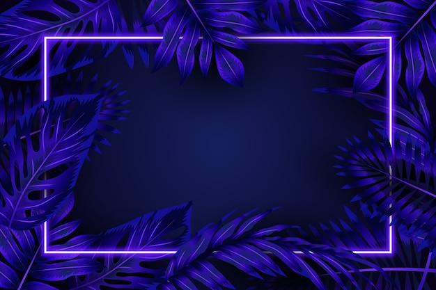 Folhas realistas com moldura de néon azul