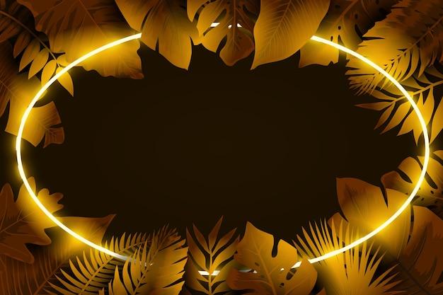 Folhas realistas com moldura de néon em tons dourados