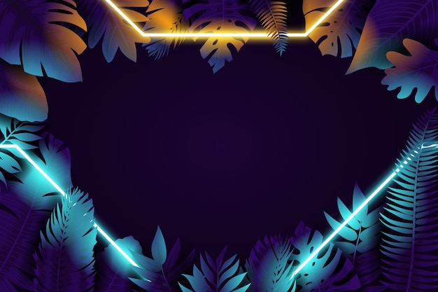Folhas realistas com moldura de néon no meio da noite