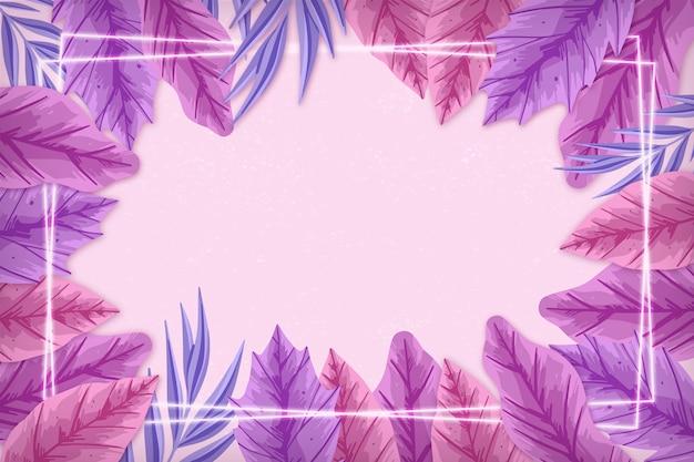 Folhas realistas com moldura de néon rosa