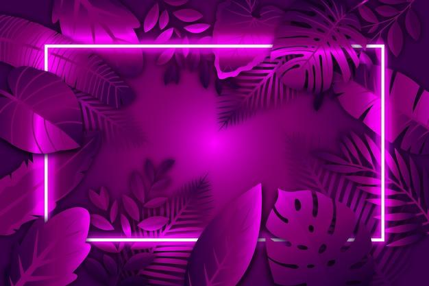 Folhas realistas com moldura de néon roxo