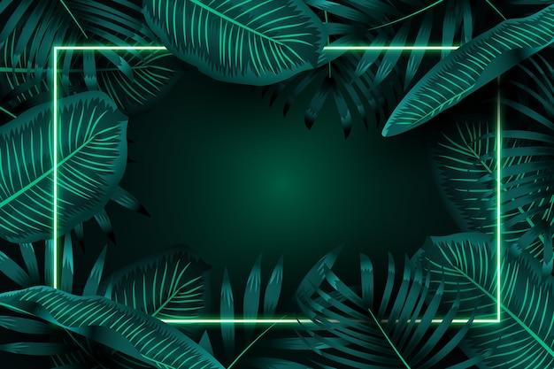 Folhas realistas com moldura de néon verde