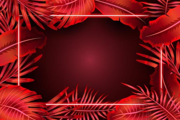 Folhas realistas com moldura de néon vermelho