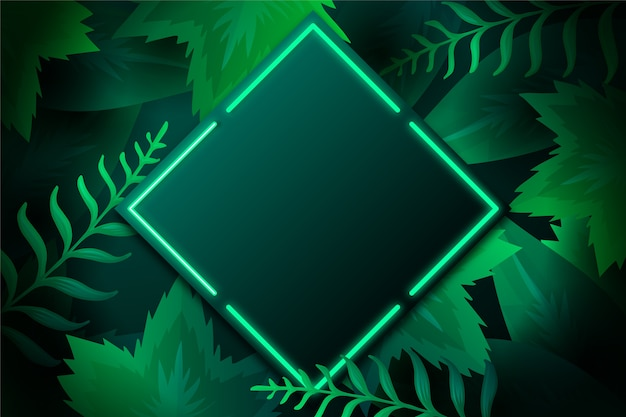 Folhas realistas com moldura de néon