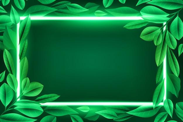 Folhas realistas com tema de moldura de néon