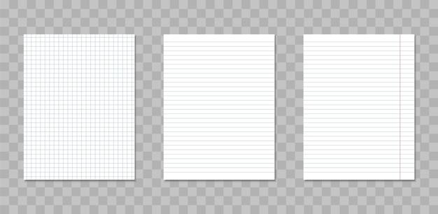 Folhas realistas de caderno quadradas e pautadas.