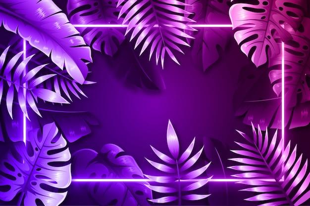 Folhas realistas roxas com moldura de néon