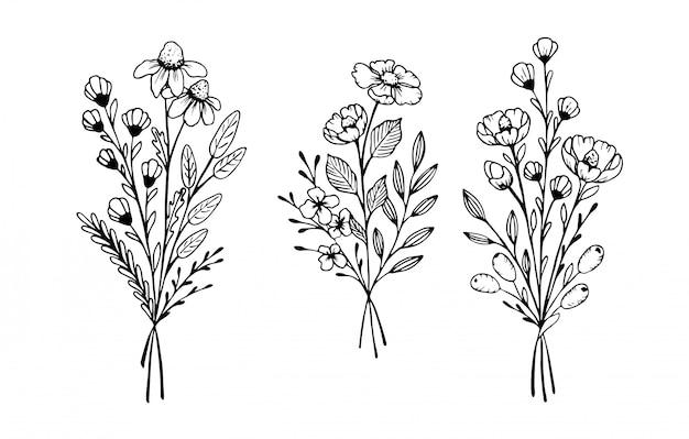 Folhas, redemoinhos, elementos florais.