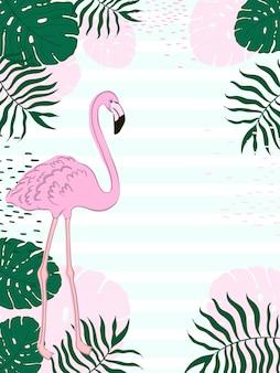 Folhas retangulares de quadro tropical e banner de verão flamingo