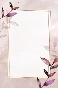 Folhas rosa com vetor de moldura de retângulo dourado